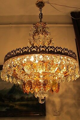 Antique.Vnt.French Basket style BOHMIA Crystal Chandelier Light 1940's 21in RARE