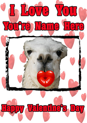 Llama Tv177 Fun Cute Valentines Day Card A5 Personalised Greetings