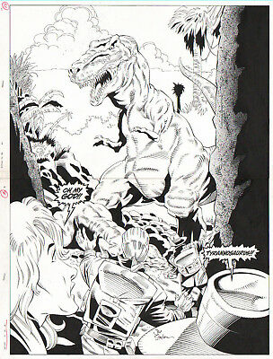 Jurassic Park 1995 Double Page Spread Orig. Art-Angry T-Rex By Joe Staton!