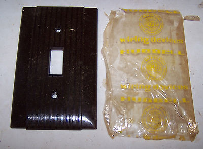 Vintage Brown HUBBELL Brand SWITCH COVER Bakelite Ribbed