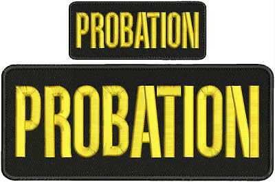 PROBATION embroidery patches 4x10 and 2X5  hook gold
