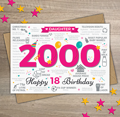 2000 DAUGHTER Happy 18th Birthday Memories Birth Year Facts Greetings Card PINK