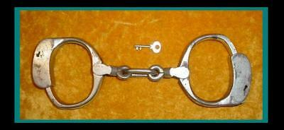Antique 1884 Bean Cobb / Iver Johnson Handcuffs / Manacles / Shackles ~ With Key