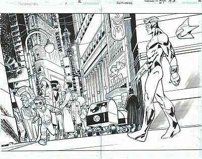 Booster Gold Meets Flintstones Double Page Spread Orig. Ink Art-Leonardi/ Hanna!