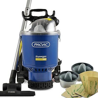 Pacvac Superpro 700 Commercial Backpack Vacuum Cleaner-2 Cloth and 10 paper bags