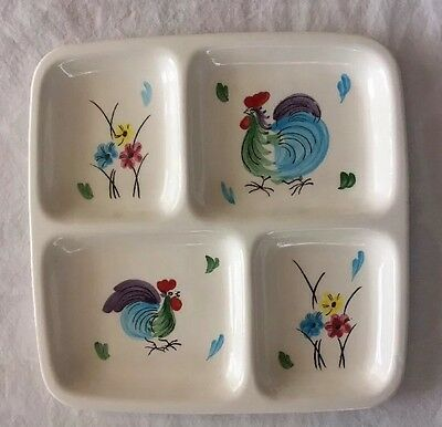 Vintage NAPCO 1962 Chanticlaire C-5459 Ceramic Divided Dish ~ Roosters & Flowers