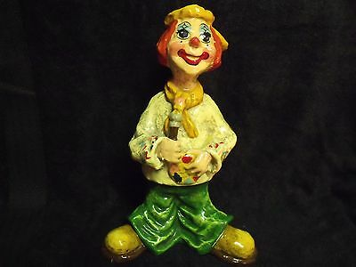 "Vintage Alvarez Mexico 10"" Hand Made And Painted Papier Mache' Clown"