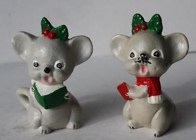 Vintage Set of 2 Christmas Carol Mouse Ceramic Figurines-Unmarked-Hand Painted