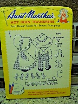 Aunt Martha 3795 Embroidery Transfer Pattern Sunbonnet Sue Overall Bill Train