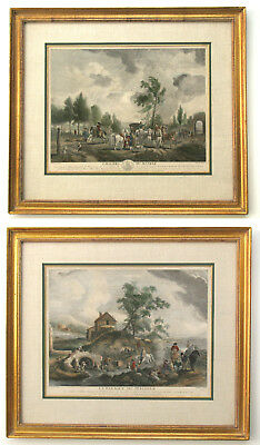Pair of Philips WOUWERMAN Antique ENGRAVINGS, large18th c handcolored, framed