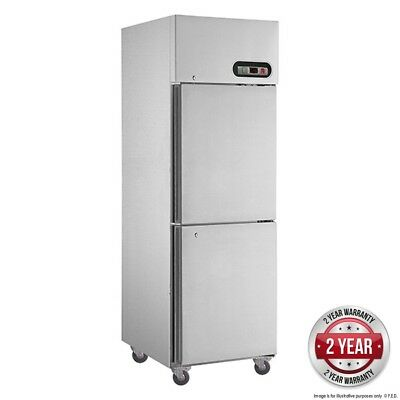 Tecnotherm GN Freezer Upright 580Lt 2 x 1/2 Stainless Split Doors FED SUF600