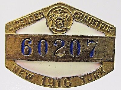 1916 NEW YORK CHAUFFEUR enameled badge screw back pin High Grade