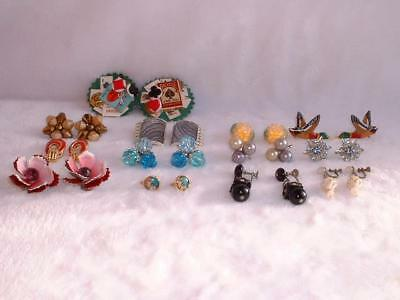 Lot Of 13 Vintage Pair Earrings 7 Clip On 6 Screw On All Different Styles