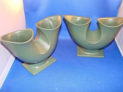 Pair of Hyalyn USA #388 Green Double Planter NICE