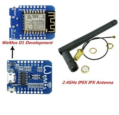 ESP8266 ESP12 WeMos D1 Mini WIFI NodeMcu Lua Development Board SMA Antenna 2.4G
