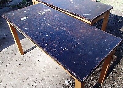 Lot Of 3 Vintage Foe Marble Science Class Tables Solid  Very Cool!