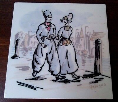Royal Goedewaagen - Hand Painted Tile - Dutch Couple - Gouda Holland - Belgium