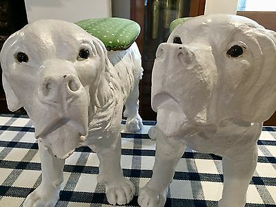 Super Pair Of Large Vintage Hand Carved Painted Dogs With Fabric Platforms