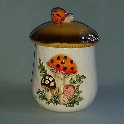 """Vtg 1978 Sears, Roebuck & Co. Merry Mushroom Small 7"""" Canister with Lid - Japan"""