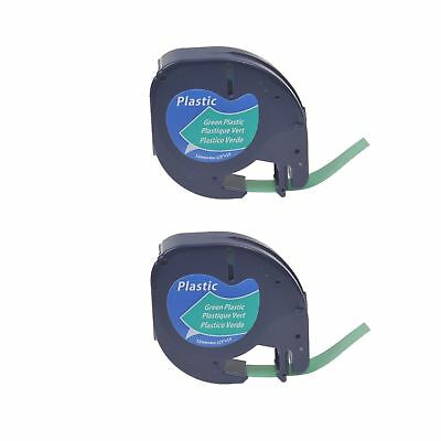 2PK Black on Green Plastic Tape Label 91334 for DYMO Letra Tag LT-100H 100T QX50