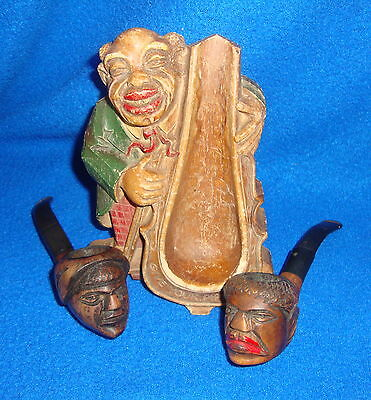 Vintage Black Americana Lot of Two Italy  Briar Hand Carved Pipes and Pipe Stand
