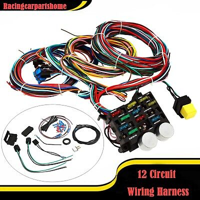 universal wire 12 circuit hot rod wiring harness for chevy mopar rh picclick com Simple Wiring Harness Diagram Universal Wiring Harness Diagram