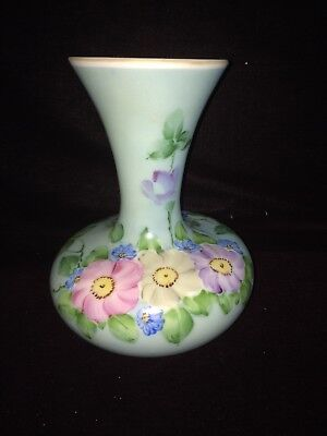 "Antique 9 1/4"" Milk Glass Vase Hand Painted Pansy Floral Victorian Stunning"