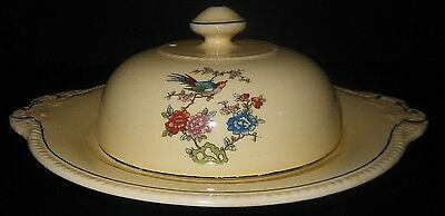 Antique Yellow Bird of Paradise 3 pc Covered Butter/Cheese Dish Vintage Unmarked