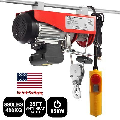 880lbs Mini Electric Wire Hoist Remote Control Garage Auto Shop Overhead Lift B2