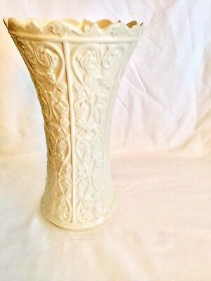 "Lenox Wentworth Vase Cream Porcelain Tall Glossy Embossed Vines 11"" USA"