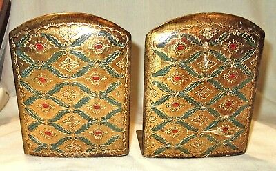 Pair of Vintage Folding Florentine Gilt Toleware Bookends - Italy