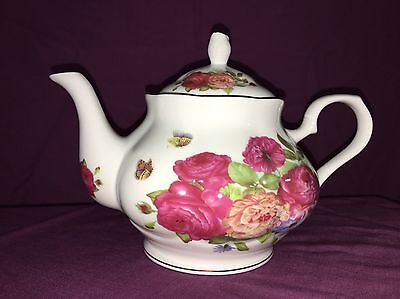 """Gracie China By Coastline Imports Teapot With Gold Trim """"sandra's Rose"""""""