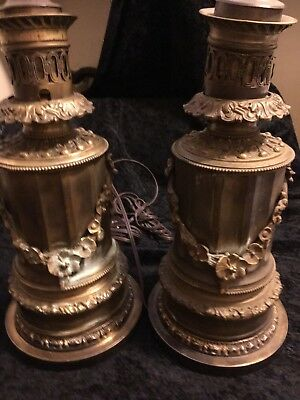 Antique French Bronze Lamps Pair