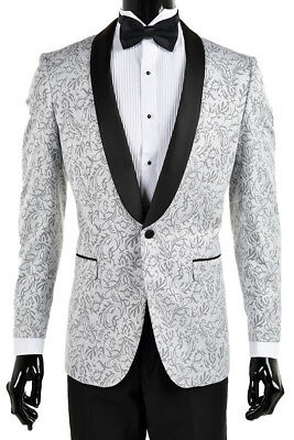 Men's Silver With Black Paisley Pattern Slim Fit Tuxedo Jacket/Dinner Jacket