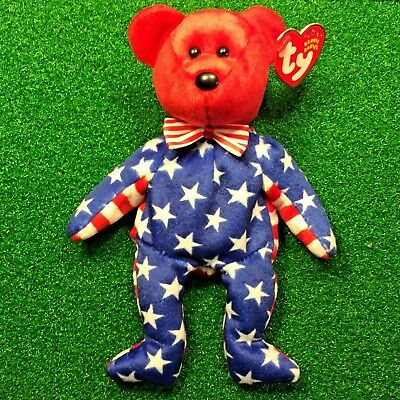 TY Beanie Babies LIBERTY (Red Face) USA PATRIOTIC Plush Toy MWMT - Ships FREE