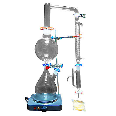2000ML Lab Essential Oil Steam Water Distillation Apparatus w/Graham Condenser
