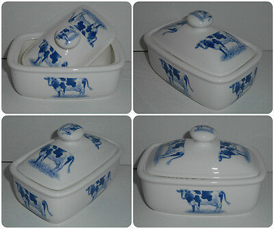 BN Bone China Vintage Traditional Blue Cow Butter Dish and Lid, Vintage Friesian