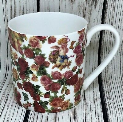 BN Shabby Chic Cherub Bone China Mug, Vintage Style Cherub/angel Floral Design
