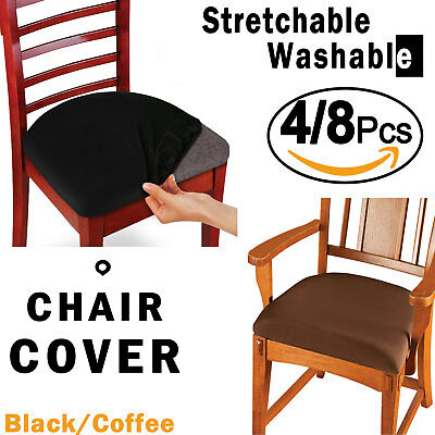 4PCs Chair Covers Dinning Office Stool Seat Cover Slipcover Stretchable Washable
