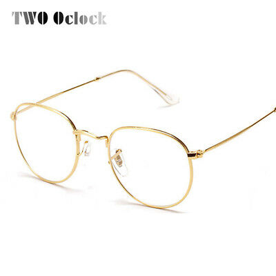 TWO Oclock Fashion Gold Metal Frame Eyeglasses For Women Female Vintage Glasses