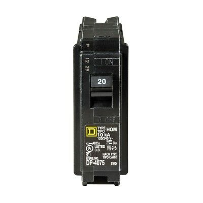 Square D Schneider Electric HOM120CP Homeline 20 Amp Single Pole Circuit Breaker
