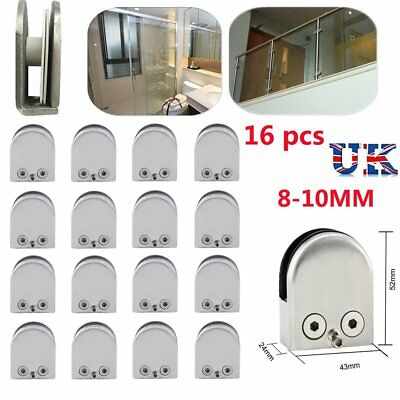 16X Glass Clamp Stainless Steel 304 Clip Flat Back Bracket For Balustrade 8-10MM