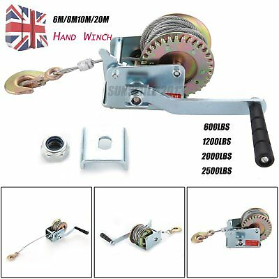 Manual Hand Winch 600lbs Boat Trailer Caravan 10M 12m 39ft Cable Marine Pull