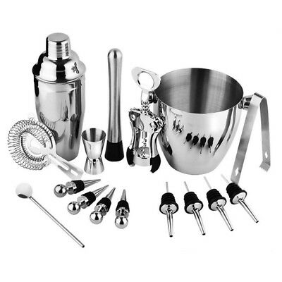 16-Piece Stainless Steel Wine and Cocktail Bar Set - Bar Kit Includes Essen K2S6