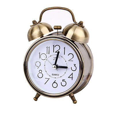 Classic Retro Silent Non Ticking Quartz Double Twin Bell Alarm Clock Moveme F4I6