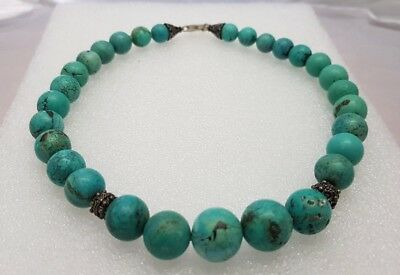 """VTG GRADUATED 16"""" CHINESE CARVED TURQUOISE  BEAD NECKLACE FILIGREE  80.6g"""