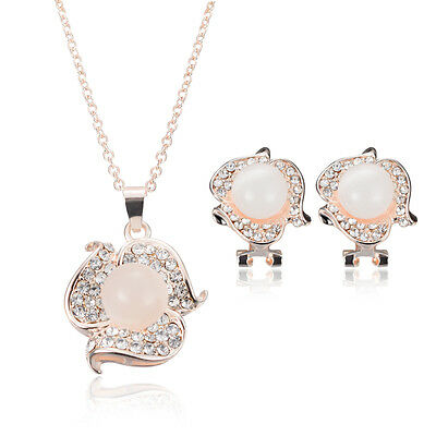 Woman Prom Wedding Bridal Crystal Pearl Rhinestone Necklace Earrings Jewelry Set