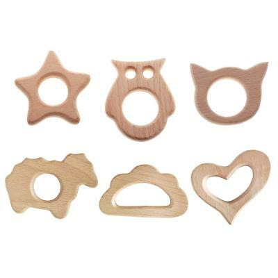 6pcs Safety Natural Wooden Teething Ring Organic Wood Bay Teether Toy Gifts