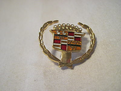 "CADILLAC   60""s   TYPE  GOLD  WREATH   INSIGNIA    HAT,LAPEL PIN"