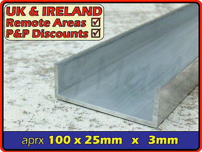 "Aluminium Channel (C U section, gutter, profile,ramp,alloy) | 4"" x 1"""